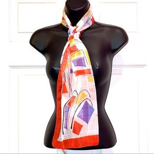 Vintage Italian Made Multicolored Patterned Scarf